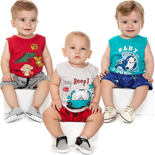 Roupa Bebê Menino Kit 3 Conjuntos Curto Camiseta e Bermuda