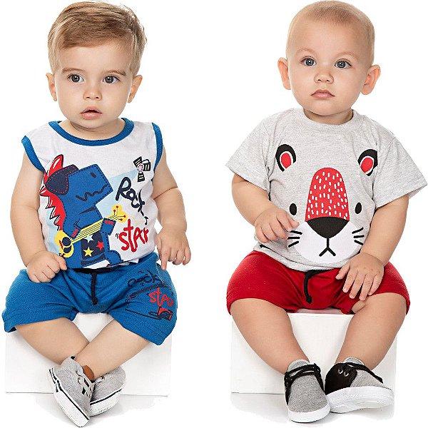 Roupa Bebê Menino Kit 2 Conjuntos Camiseta e Bermuda Verão
