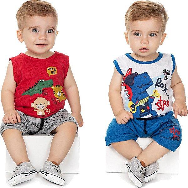Roupa Bebê Menino Kit 2 Conjuntos Curtos Camiseta e Bermuda