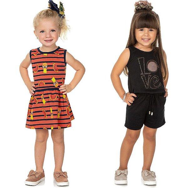 Roupa Bebê Infantil Menina Kit com 1 Macaquinho e 1 Vestido