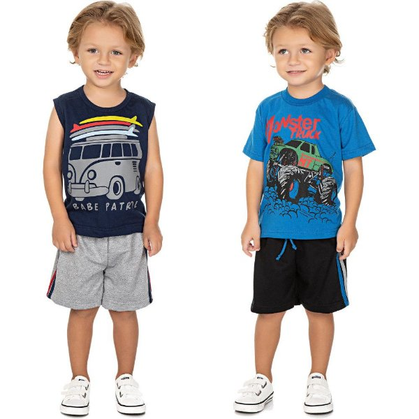 Roupa Bebê Infantil Menino Kit 2 Conjuntos Curto Verão Cars