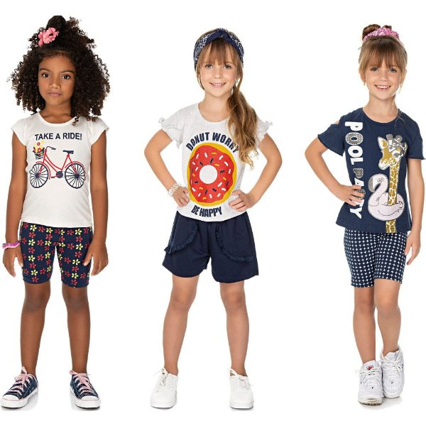 Roupa Infantil Menina Kit 3 Conjuntos Curto Isensee Ciclista