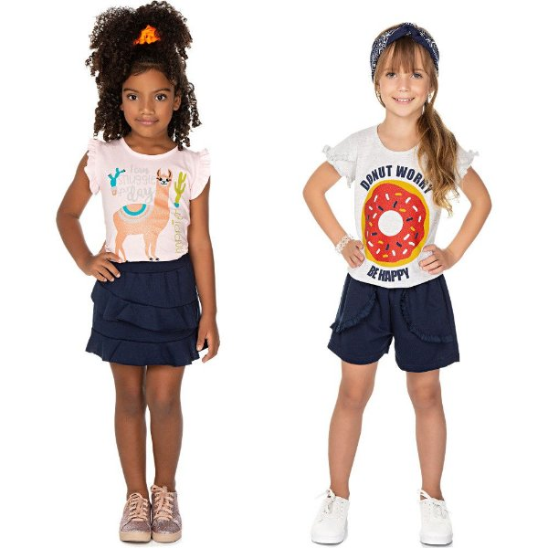 Roupa Infantil Menina Kit 2 Conjuntos de Verão Isensee Happy