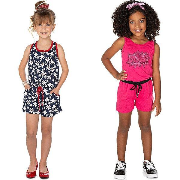 Roupa Infantil Menina Kit 2 Macaquinhos Curto Regata Verão