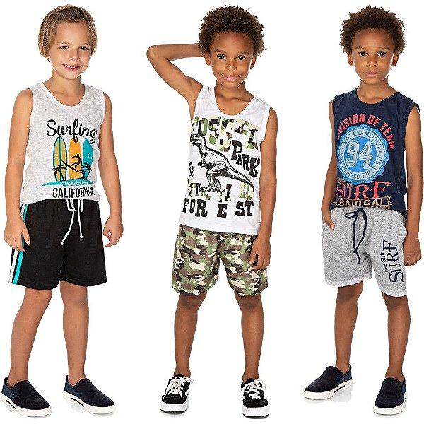Roupa Infantil Menino Kit 3 Conjuntos Regata e Bermuda Verão