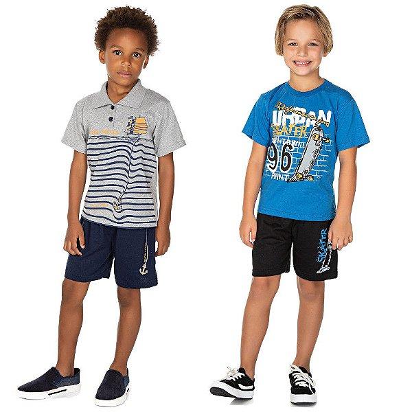 Roupa Infantil Menino Kit 2 Conjuntos Camiseta e Bermuda
