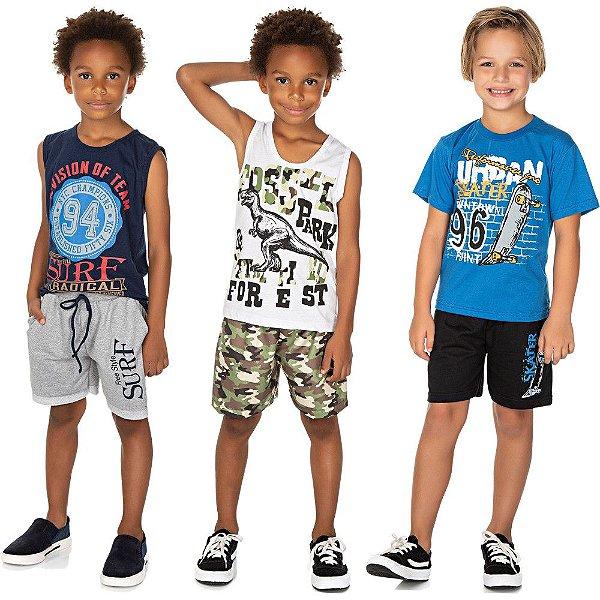 Roupa Infantil Menino Kit 3 Conjuntos Camiseta e Bermuda