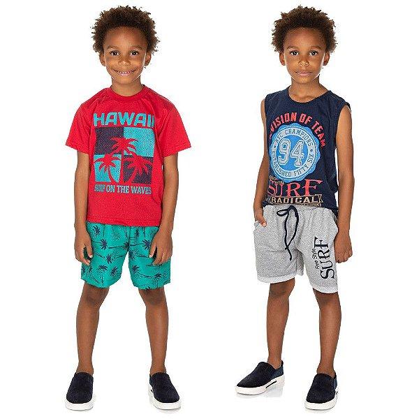 Roupa Infantil Kit 2 Conjuntos Curto de Verão Isensee Menino