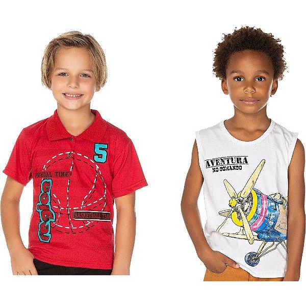 Roupa Infantil Kit 2 Camisetas Polo e Machão Isensee Verão