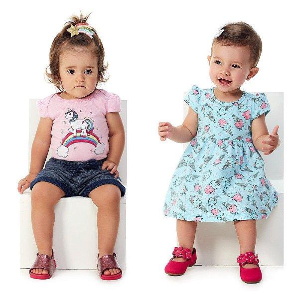 Roupa Bebê Menina Kit 1 Conjunto Body e Shorts e 1 Vestido