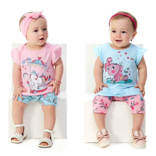 Kit 2 Conjuntos Bebê Menina Blusa e Bermuda + Blusa e Capri