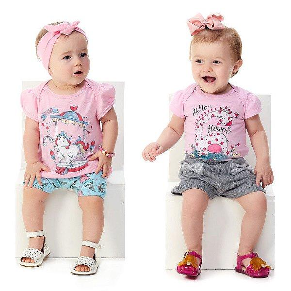 Kit 2 Conjuntos Bebê Menina Blusa e Bermuda + Blusa e Shorts