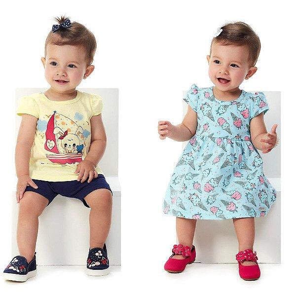 Kit Conjunto Blusa e Bermuda Ciclista + Vestido Bebê Menina