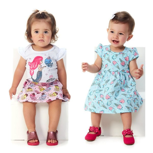 Kit Conjunto Body e Saia + Vestido Bebê Menina Verão Abrange