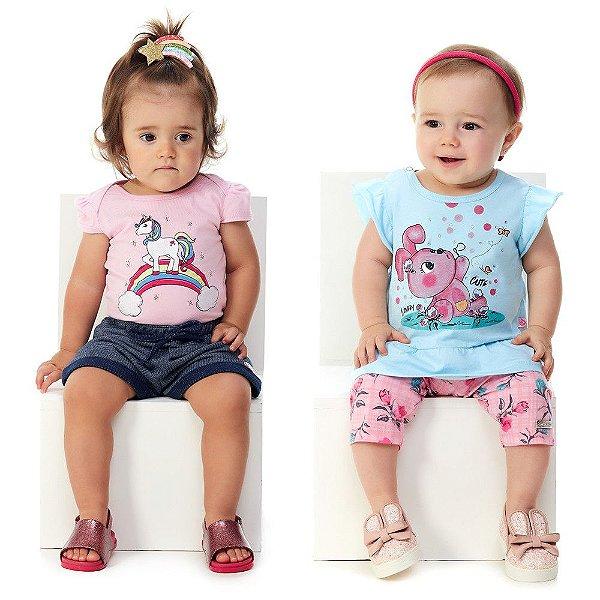 Kit 2 Roupas Bebê Menina Verão Body e Shorts + Blusa e Capri