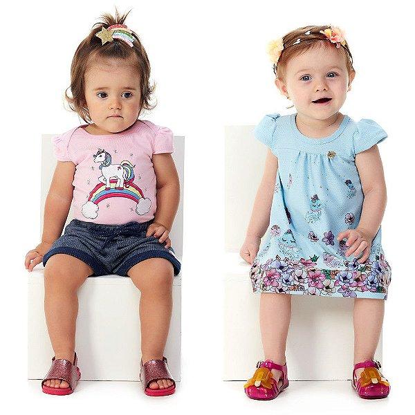 Kit Conjunto Body e Shorts + Vestido Verão Bebê Menina