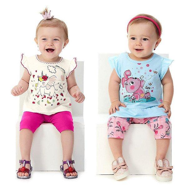 Kit 2 Conjuntos Bebê Menina Blusa e Capri Verão Abrange
