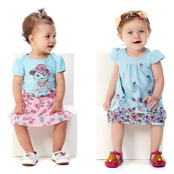 Roupa de Bebê Menina Kit Conjunto Body e Saia + Vestido