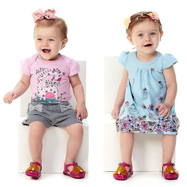 Roupa de Bebê Menina Kit Conjunto Blusa e Shorts + vestido