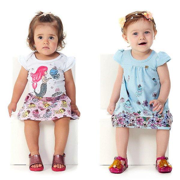 Roupa de Bebê Menina Body Saia Vestido Kit 3 Peças Abrange