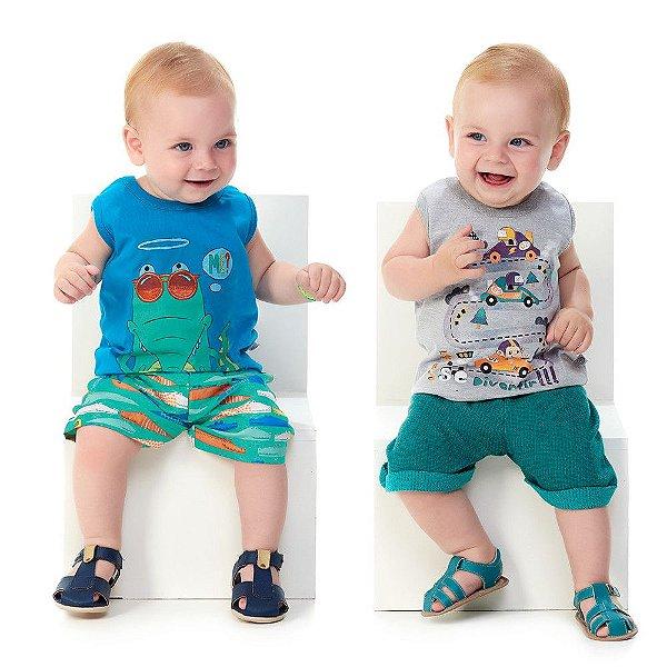 Roupa de Bebê Menino Kit 2 Conjuntos Regata e Bermuda Verão