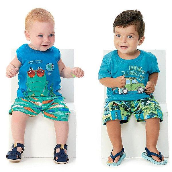 Roupa de Bebê Menino Kit 2 Conjuntos Camiseta e Bermuda Sun