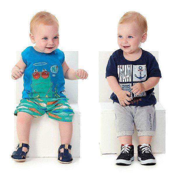 Roupa de Bebê Menino Kit 2 Conjuntos Curtos Verão Abrange
