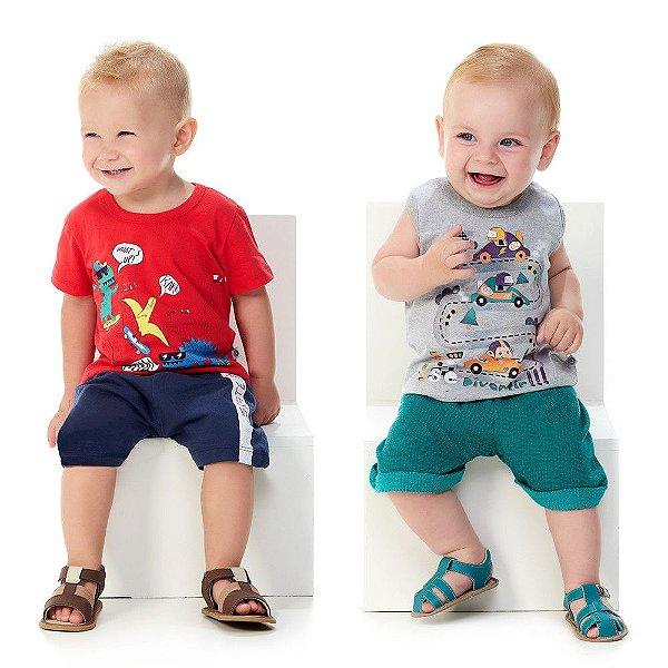Roupa de Bebê Menino Kit 2 Conjuntos Curtos de Verão Abrange
