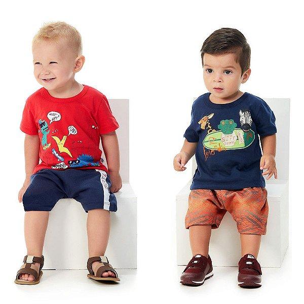 Kit 2 Conjuntos Curtos de Verão Bebê Menino Abrange Sports