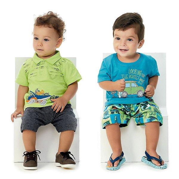 Roupa de Bebê Menino Kit 2 Conjuntos Camiseta e Bermuda Road