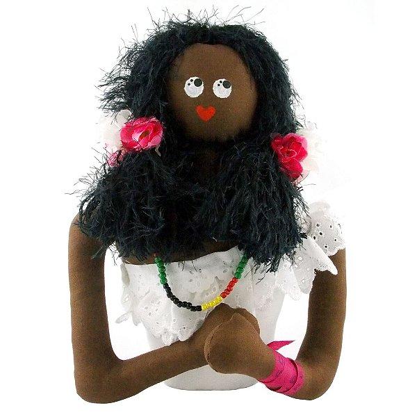 Boneca de Pano Baiana Meio Corpo Gabriela com Flores