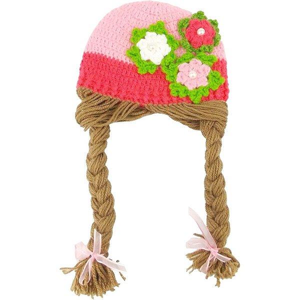 Touca de Lã Rosa com Flores e Tranças