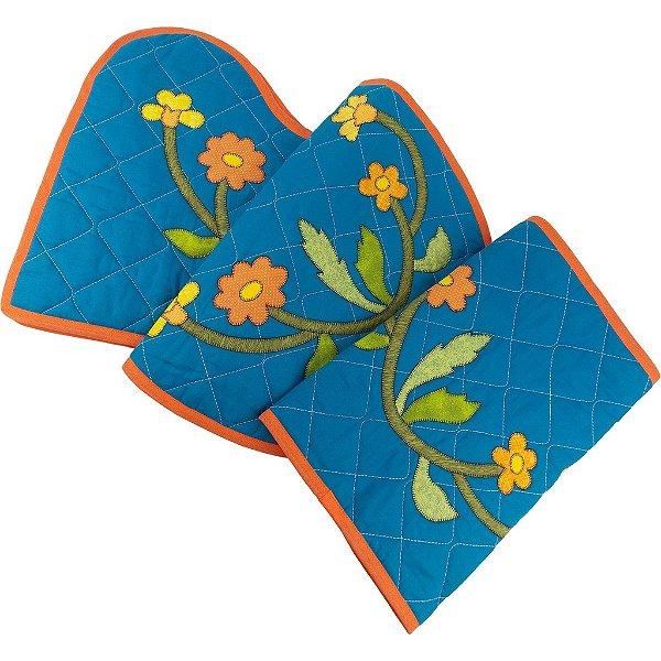 Jogo de Tapetes para Banheiro de Patch Aplique Azul Petróleo Ramo de Flores