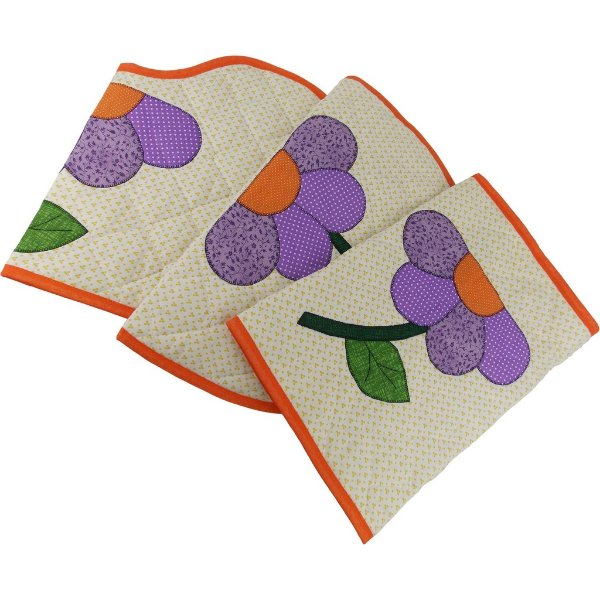 Jogo de Tapetes de Patch Aplique para Banheiro Amarelo Flor