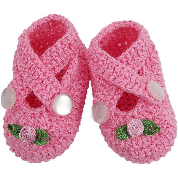 Sapatinho de Crochê para Recém-nascido Modelo Amora