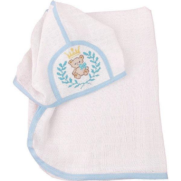 Toalha de Banho de Fralda com Capuz Bordada de Ponto Cruz Ursinho