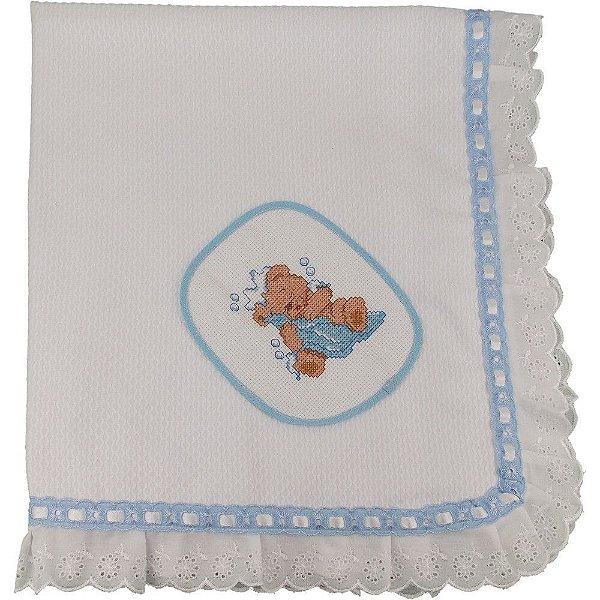 Manta de Piquet Branco com Bordado de Ponto Cruz de Ursinho