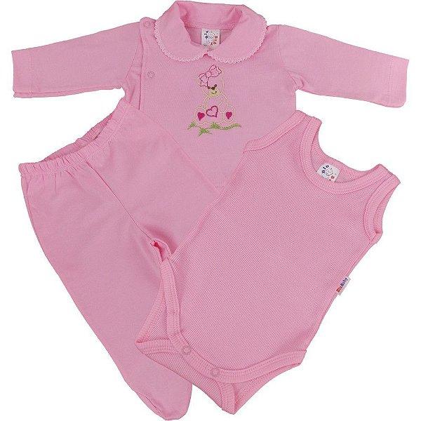 Conjunto Pagão de Malha 3 Peças Calça Body e Casaco para Recém-Nascido