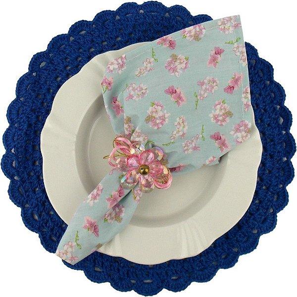 Sousplat Redondo de Crochê Barbante Azul Bic Número 4