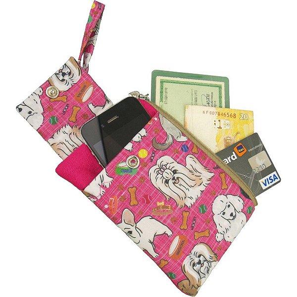 Porta Celular e Carteira de Patchwork Pink com estampa de Cachorrinhos
