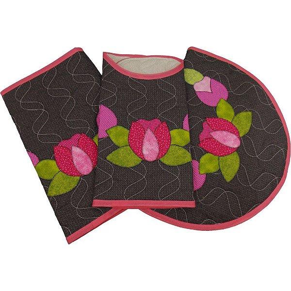 Jogo de Tapetes para Banheiro com Patch Aplique Flor de Lótus