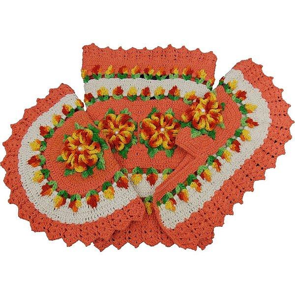 Jogo Tapetes de Crochê para Banheiro Laranja com Flores Vermelho Meclado