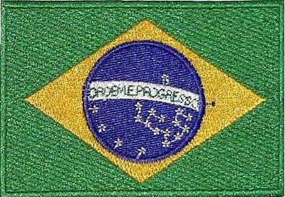 Bandeira do BRASIL bordada colorida ou negativa