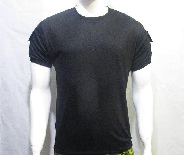 Camiseta t-shirt preta bolsos tático