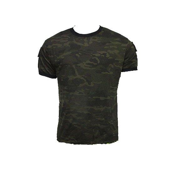 Camiseta T-shirt multicam black bolsos tático