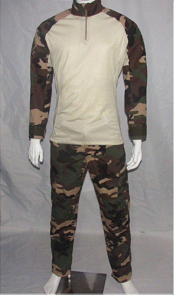 Calça e Combat t-shirt woodland Francês