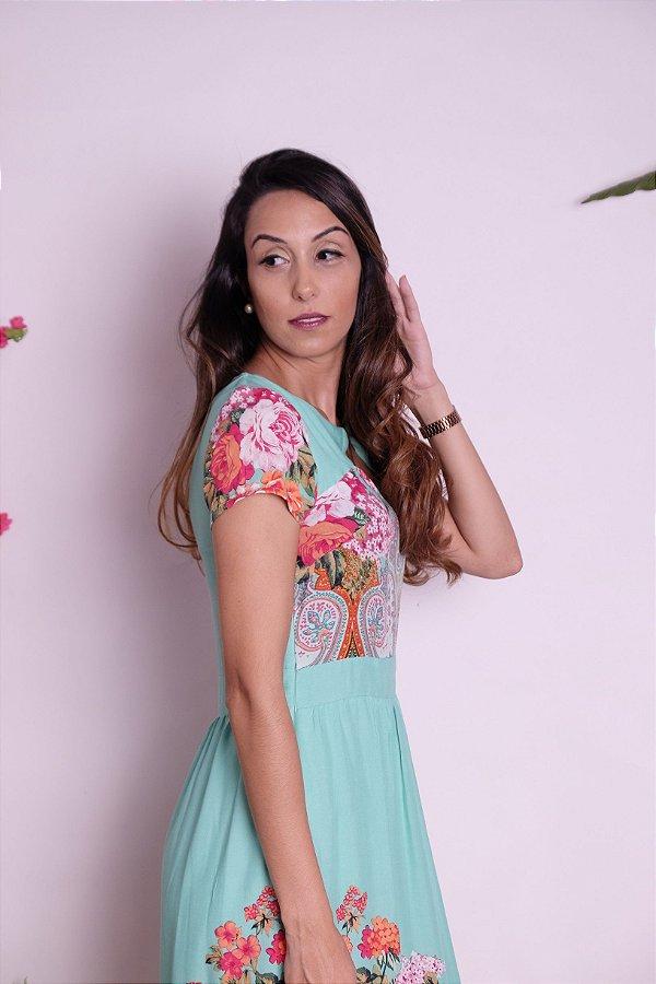 Vestido Madalena barrado floral