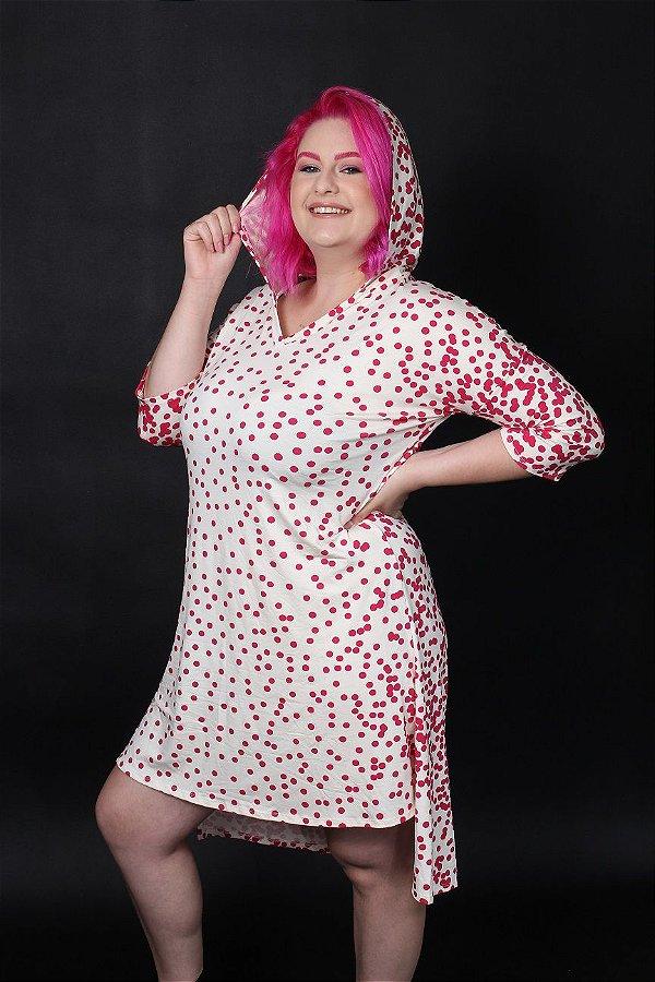 Vestido capuz malha poa rosa