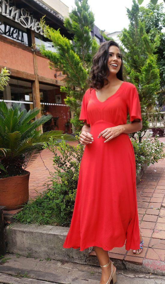Vestido Veneza vermelho cherry