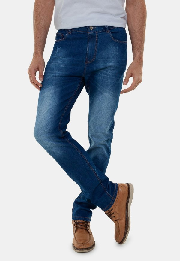 Calça Jeans Masculina Versatti Reta Slim Lavagem Azul Escuro Los Angeles A20